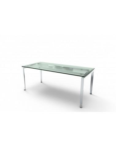 Schreibtisch Aveto Edelstahl mit 4-Fuß-Gestell und Glasplatte