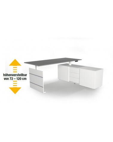 Elektromotorischer Steh-Sitztisch Move.3, Komplett-Arbeitsplatz mit Sideboard