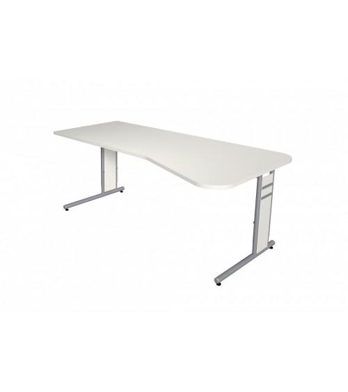 Schreibtisch StageOne Form 4, C-Fuß-Gestell, Freiformtisch