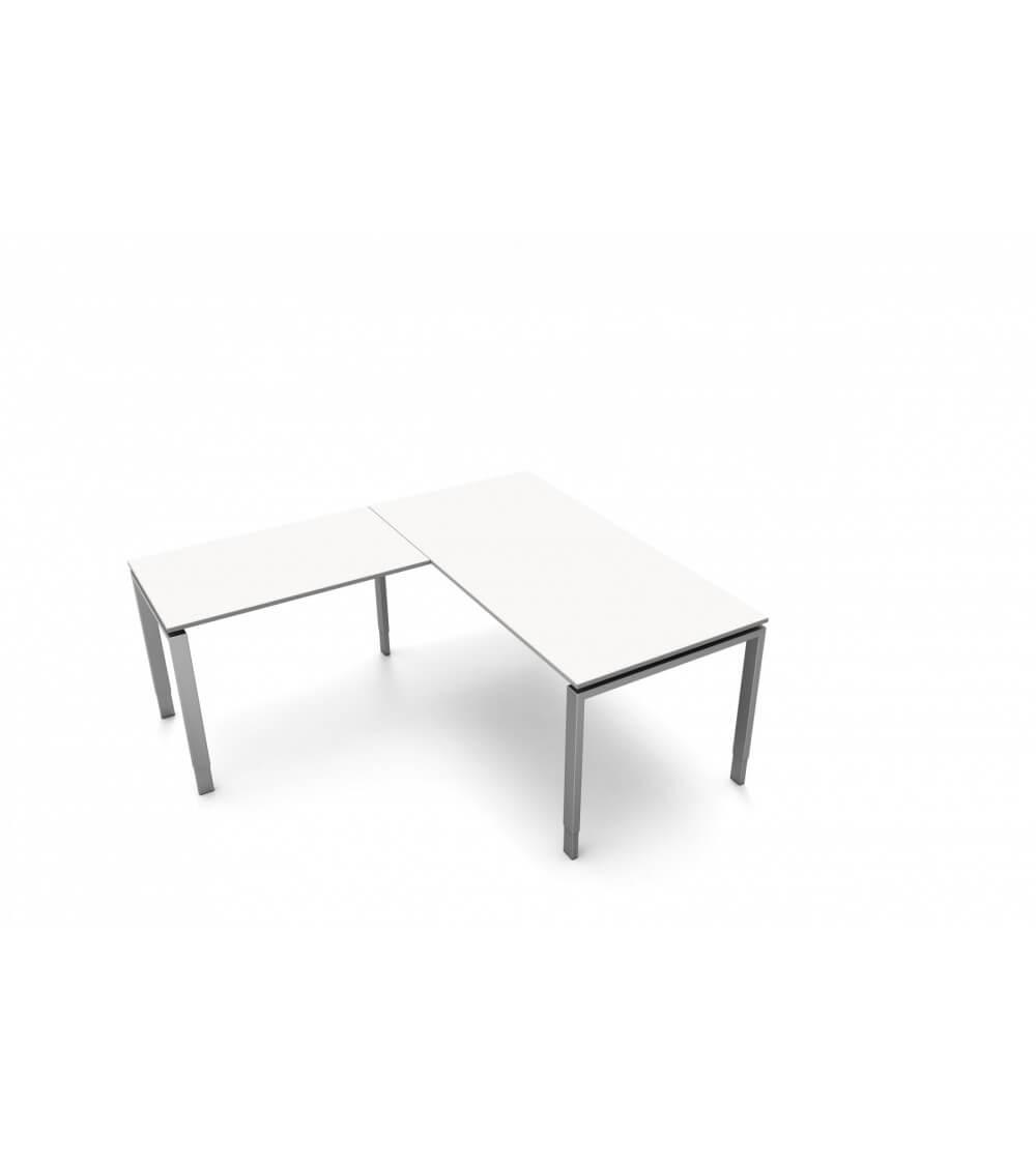 Schreibtisch StageOne Form 5, rechteckig mit Anbau