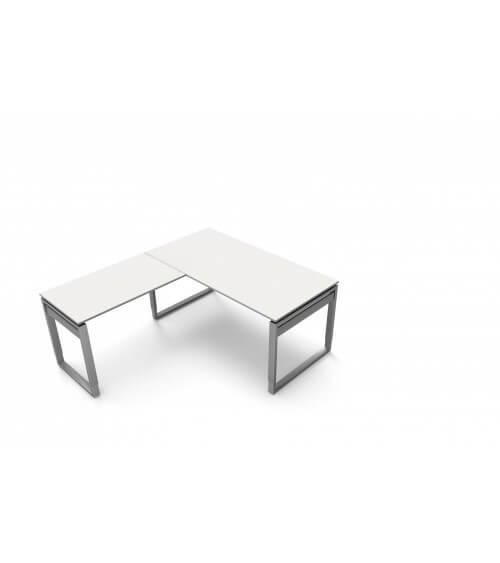 Schreibtisch StageOne Form 5 mit Bügelgestell, rechteckig mit Anbau