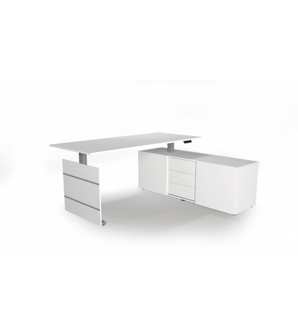 Elektromotorischer Steh-Sitztisch Move.3, Komplett-Arbeitsplatz mit Sideboard (Gestell Silber)