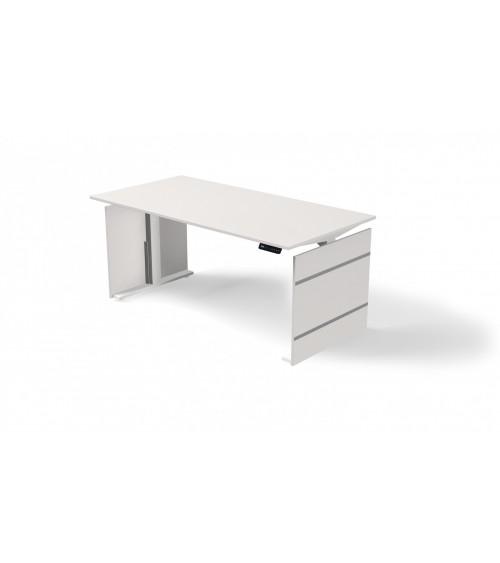 Elektromotorischer Steh-Sitztisch StageOne Form 4, Wangengestell, rechteckig