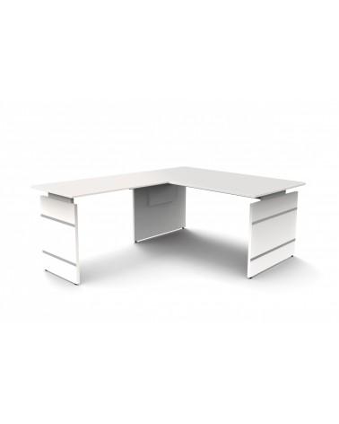 Schreibtisch StageOne Form 4, Wangengestell, rechteckig mit Winkelanbau